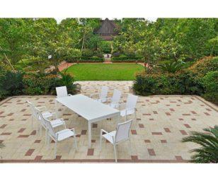 Set nettuno bianco tavolo estensibile 231-346x104x75h + 8 poltrone.