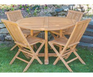 Set ind kupang1: tavolo teak rotondo cm 120 + 4 sedie pieghevoli.
