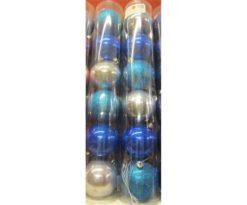 Tubo 6 sfere plastica cm 8 azzurro (2 lucide+2 opache+2 glitter).
