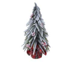 Albero Di Natale Innevato Mini Con Bacche Rosse Cm 27.