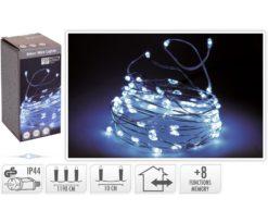 Microled 120 Bianco Gioco Di Luce - Filo Trasparente - Distanza Led 10 Cm - Lunghezza 12+3 M.