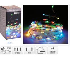Microled 120 Multicolor Gioco Di Luce - Filo Trasparente - Distanza Led 10 Cm - Lunghezza 12+3 M.