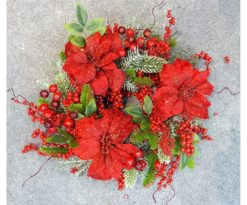 Corona Cm 40 Bacche Rosse Stelle Di Natale Foglie Aghi Verdi