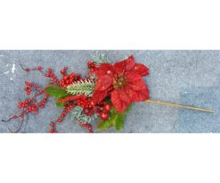 Ramo Cm 60 Bacche Rosse Stelle Di Natale Foglie Aghi Verdi