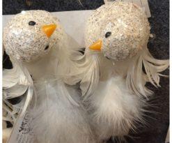 Uccellino Bianco Pailettes Cm 13x6 - Assortiti